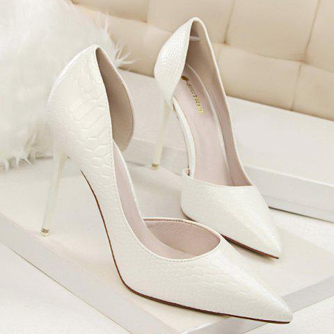 Patent Leather Embossing Stiletto Heel Pumps - White - 37