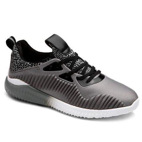 Trendy Color Block Leopard Pattern Athletic Shoes - 43 GRAY Mobile