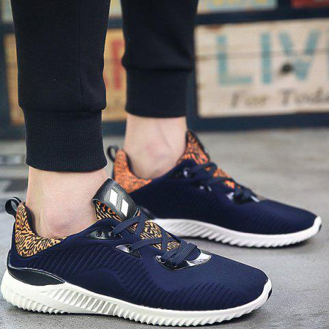 Color Block Stretch Fabric Athletic Shoes - Deep Blue - 41