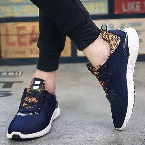 Outfit Color Block Stretch Fabric Athletic Shoes - 42 DEEP BLUE Mobile