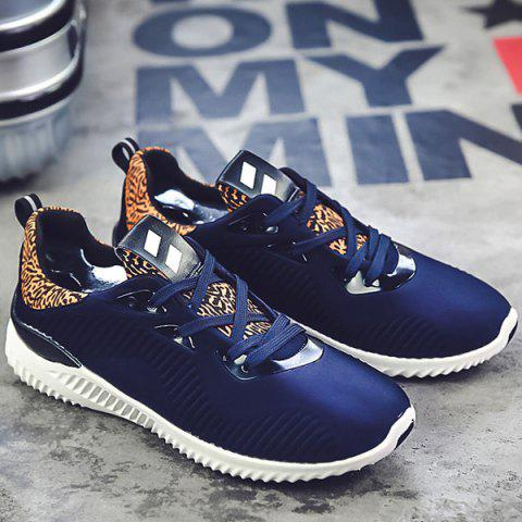 Chic Color Block Stretch Fabric Athletic Shoes - 42 DEEP BLUE Mobile