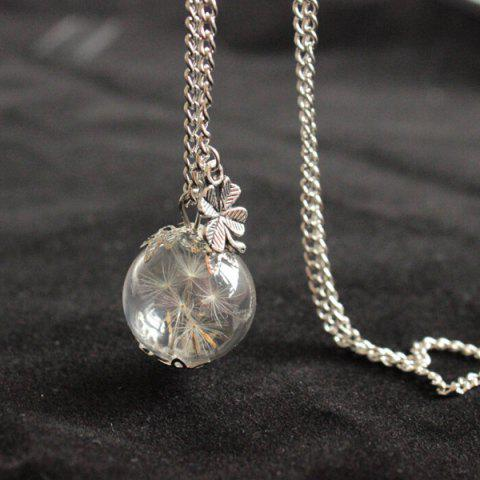 New Glass Ball Dandelion Clover Necklace SILVER