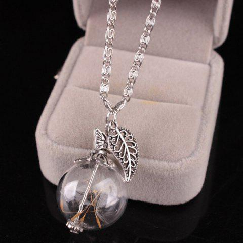 Outfit Filigree Leaf Glass Ball Dandelion Necklace - SILVER  Mobile