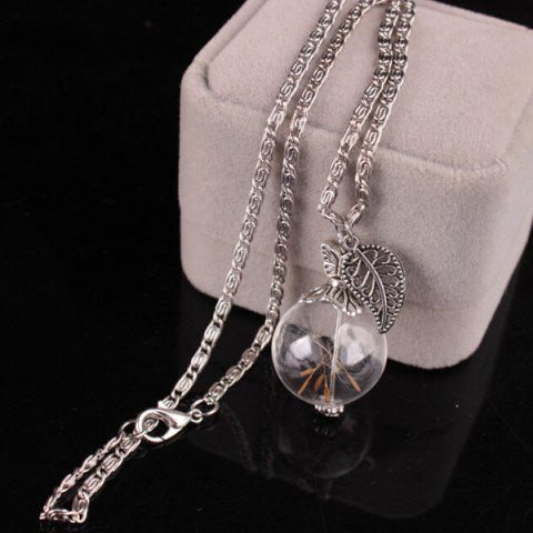 Trendy Filigree Leaf Glass Ball Dandelion Necklace SILVER