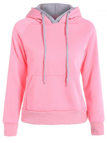 Popular Double Hooded Drawstring Hoodie - Pink - Xl