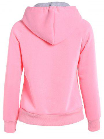 Shop Popular Double Hooded Drawstring Hoodie - M PINK Mobile