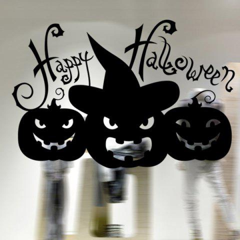 Removable Pumpkin Letter Halloween Wall Sticker - BLACK