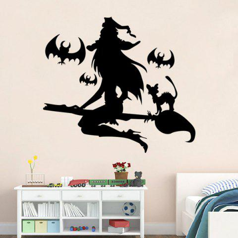 Cheap Removable Witch Pattern Halloween Wall Sticker - BLACK  Mobile