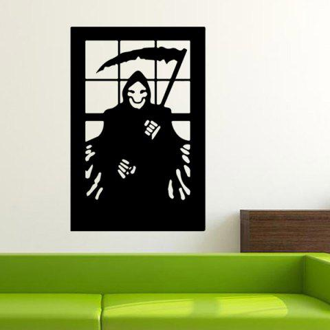 Discount Ghost Wizard Design Removable Room Halloween Vinyl Wall Sticker BLACK