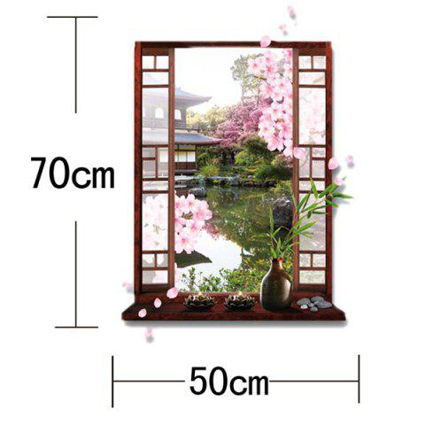 Trendy Removable 3D Stereo Peach Flower Garden Window Design Wall Stickers - GREEN  Mobile
