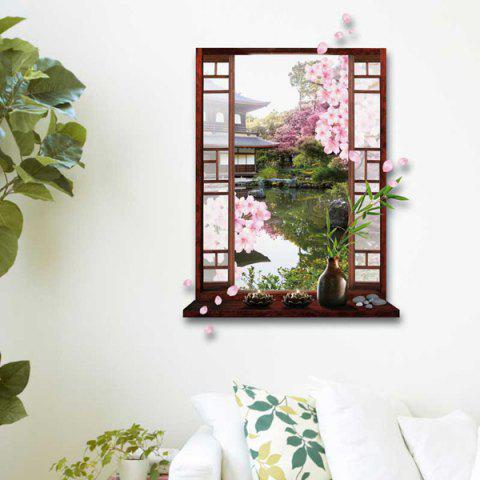 Unique Removable 3D Stereo Peach Flower Garden Window Design Wall Stickers - GREEN  Mobile