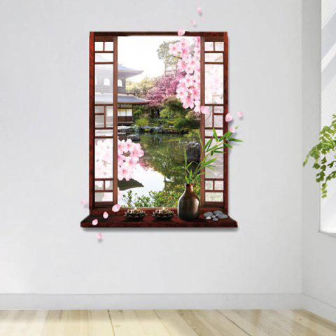 Outfit Removable 3D Stereo Peach Flower Garden Window Design Wall Stickers - GREEN  Mobile