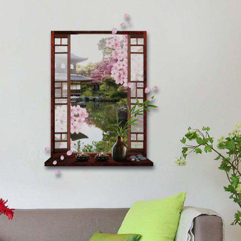 Cheap Removable 3D Stereo Peach Flower Garden Window Design Wall Stickers - GREEN  Mobile