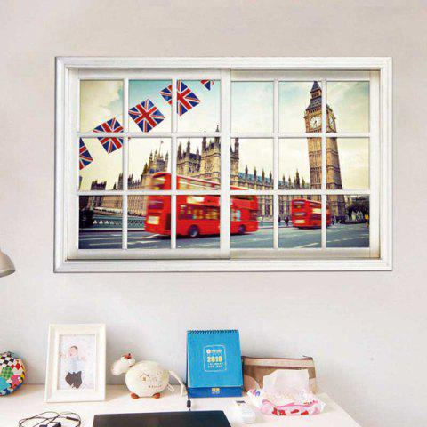 Best Removable 3D Stereo Britain Streetscape Window Design Wall Stickers WHITE