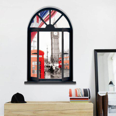 Outfit Removable 3D Stereo London Streetscape Window Design Wall Stickers BLACK