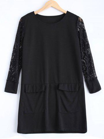 Hot Plus Size Lace Patched Dress BLACK 2XL