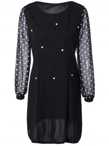 Shops Polka Dot Spliced Slimming Dress