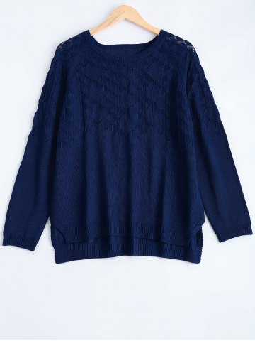 Online Textured Side Slit Asymmetric Sweater DEEP BLUE 5XL