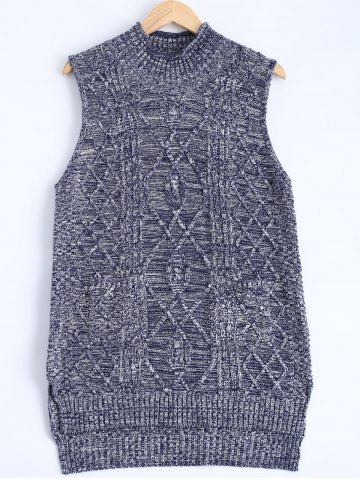 Cheap Knitted Textured Heathered Asymmetric Vest