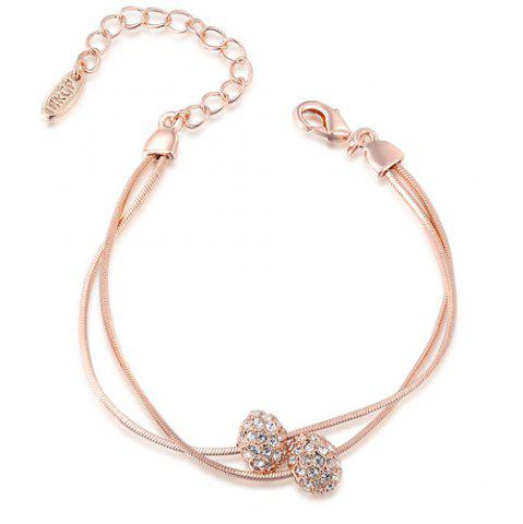 Discount Rhinestone Beads Layered Chain Bracelet ROSE GOLD