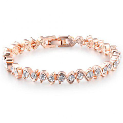Fancy Concise Rhinestone Letter S Bracelet ROSE GOLD