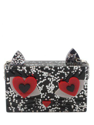 Best Acrylic Owl Pattern Color Block Evening Bag