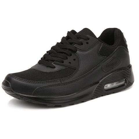 New Splicing Breathable Lace-Up Athletic Shoes - 42 BLACK Mobile