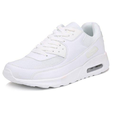 Buy Splicing Breathable Lace-Up Athletic Shoes - 41 WHITE Mobile
