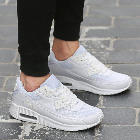 New Splicing Breathable Lace-Up Athletic Shoes WHITE 41
