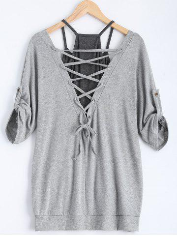 Hot Stylish Scoop Neck Half Sleeve Hollow Out Front Lace-Up T-Shirt + Solid Color Tank Top Women's Twinset GRAY S
