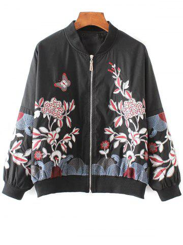 Shop Floral Stand Neck Bomber Jacket BLACK M