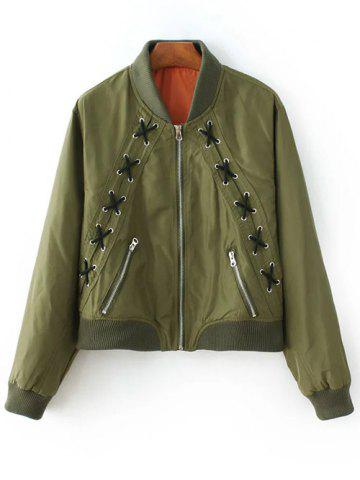 Shops Lacing Bomber Jacket ARMY GREEN L