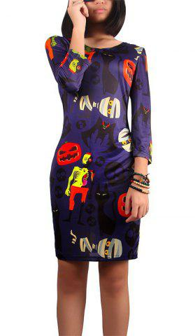 Shops Halloween Pumpkin and Zombie Print Dress DEEP PURPLE XL