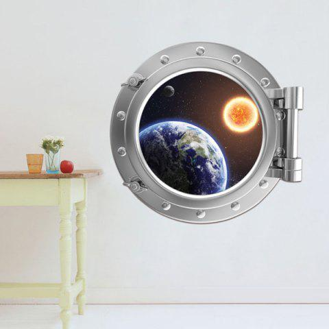 Fancy Removable 3D Space Capsule Planet Design Wall Stickers SILVER
