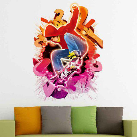 Trendy Removable 3D Skater Boy Design Wall Stickers RED