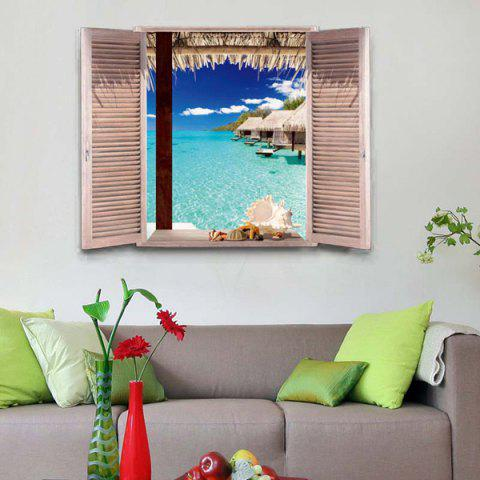 Shop Removable 3D Stereo Seascape Window Design Wall Stickers OCEAN BLUE