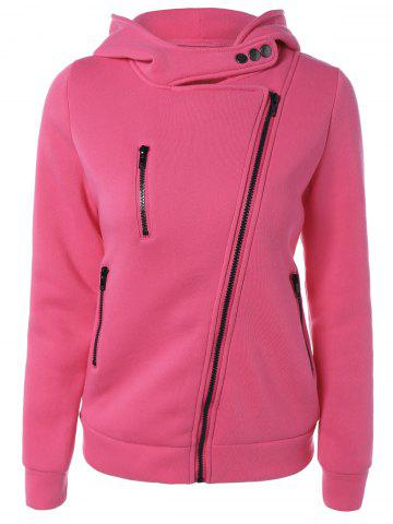 Fashion Inclined Zipper Buttoned Hoodie ROSE MADDER L