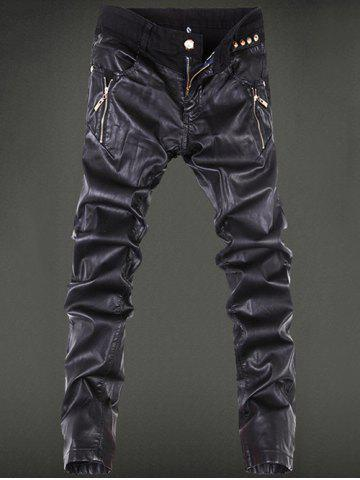 Hot Zippered Rivet Embellished Leather Patchwork Pants BLACK 36