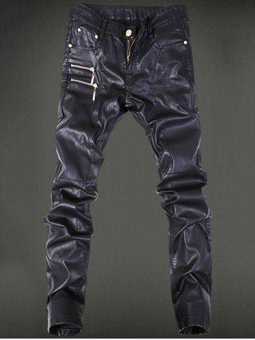 Cheap Five-Pocket Zippered Faux Leather Pants BLACK 36
