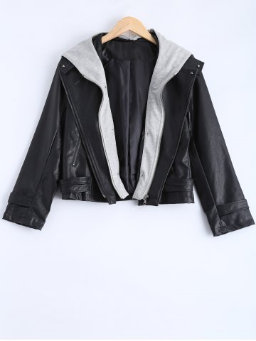 Chic Plus Size Hooded Faux Leather Jacket BLACK 4XL