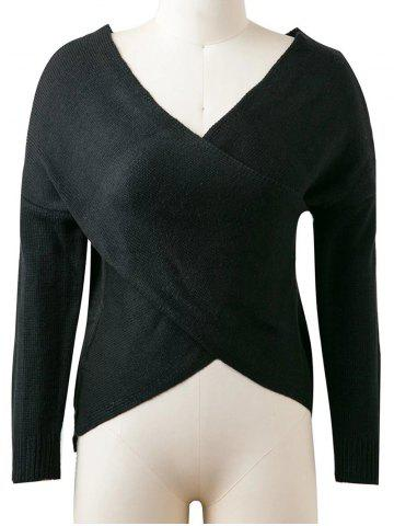 Hot Pullover Cross Sweater BLACK ONE SIZE