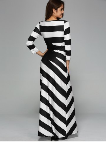 Sale Maxi Striped Cocktail Party Dress with Sleeves - XL WHITE AND BLACK Mobile