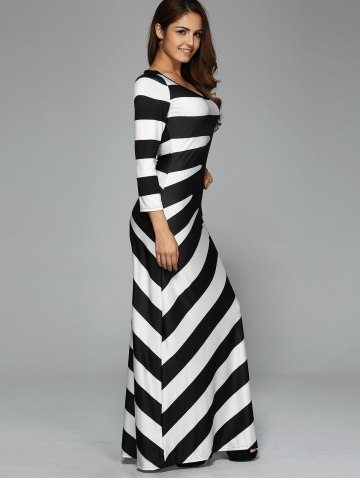 Cheap Maxi Striped Cocktail Party Dress with Sleeves - XL WHITE AND BLACK Mobile