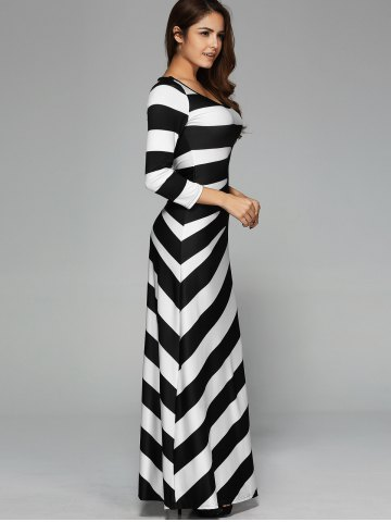 Fashion Maxi Striped Cocktail Party Dress with Sleeves - XL WHITE AND BLACK Mobile