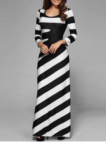 Maxi Striped Cocktail Party Dress with Sleeves - White And Black - M