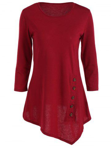 Unique Pure Color Button Asymmetric Blouse WINE RED S