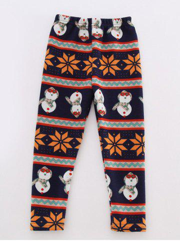 Snowman Printed Striped Leggings - Colormix - 120