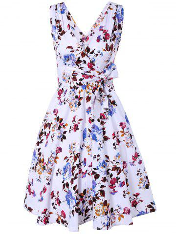 Unique Surplice Floral Swing Dress WHITE L