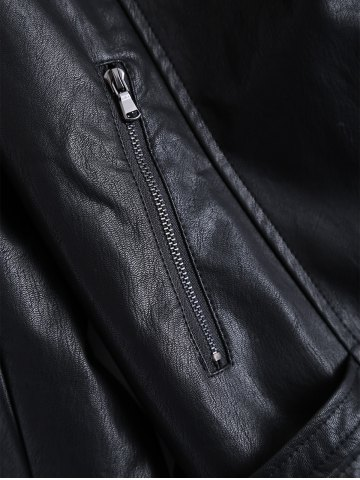 Buy Plus Size Hooded Faux Leather Jacket - 5XL BLACK Mobile