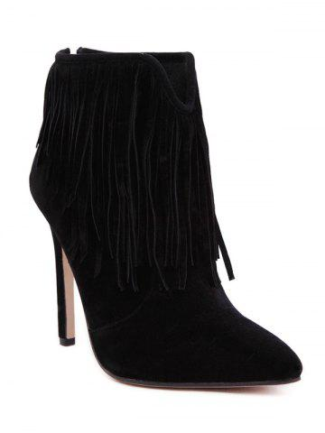 Latest V-Shape Suede Fringe Ankle Boots